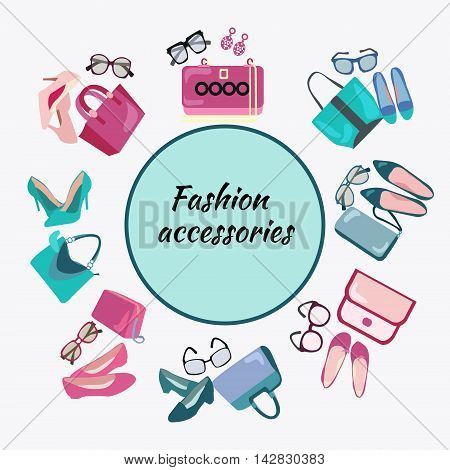 Postcard template of woman's accessories bags shoes and glasses. Fashion shopping frame background with women shoes bags and accessories vector illustration