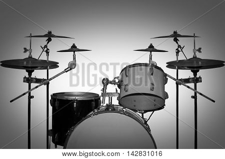 Drum Kit. Retro drums. Black and white photography