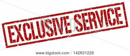 exclusive service stamp. red grunge square isolated sign
