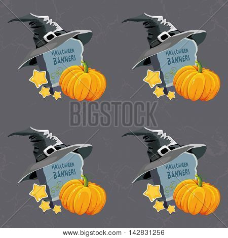 Seamless Halloween pattern with tombstone hat and pumpkin Vector Illustration EPS8