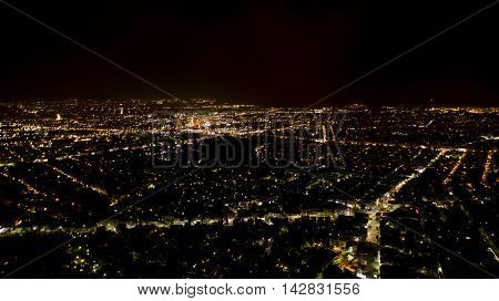 aerial athens from above by night greece