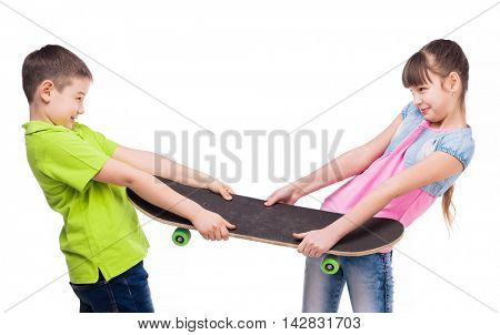 funny boy and girl pulling skate on sides isolated on white background