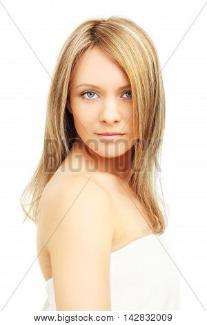 Beautiful girl blond hair - isolated on white