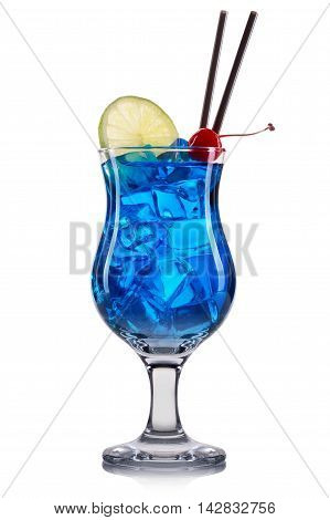 Blue curacao cocktail with lime and cherry isolated on white background.