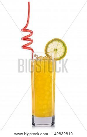 Yellow cocktail with lemon and straw isolated on white background.