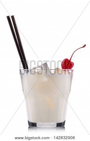 White russian cocktail in old fashioned glass isolated on white background.