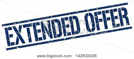 extended offer stamp. blue grunge square isolated sign