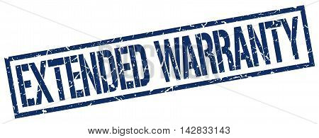extended warranty stamp. blue grunge square isolated sign