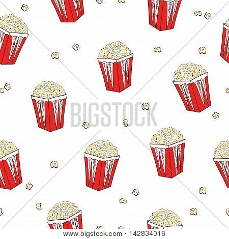 Popcorn seamless pattern. Vector background with pop corn boxes isolated on white.