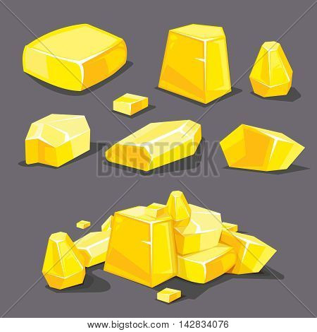 vector Set of different golden boulders. Template for 2D game UI. Illustrations isolate on dark background