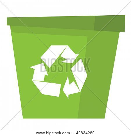 Green recycle garbage can vector flat design illustration isolated on white background.