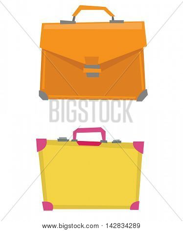Suitcase and leather briefcase vector flat design illustration isolated on white background.