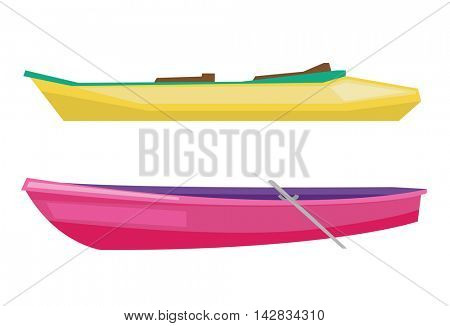 Rowing boat with paddles and canoe vector flat design illustration isolated on white background.