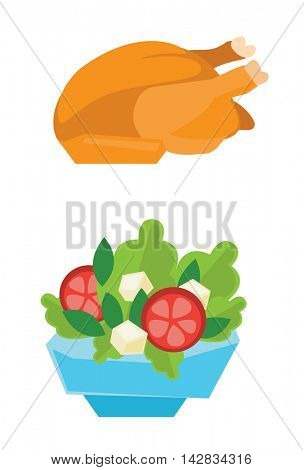 Whole roasted chicken and bowl full of tomatoes, lettuce and cheese vector flat design illustration isolated on white background.
