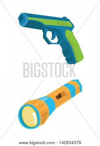 Pistol and flashlight vector flat design illustration isolated on white background.