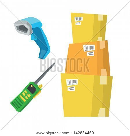Cardboard boxes, barcode scanner and radio set vector flat design illustration isolated on white background.