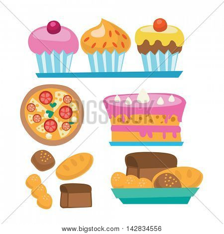 Pizza and assortment of sweet pastry - cake, cupcakes, bread vector flat design illustration isolated on white background.