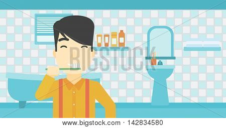 An asian young man brushing his teeth with a toothbrush in bathroom. Smiling man holding toothbrush. Vector flat design illustration. Horizontal layout.
