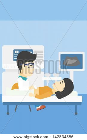 An asian doctor examining internal organs of a female patient on the ultrasound. Doctor working on modern ultrasound equipment at medical office. Vector flat design illustration. Vertical layout.