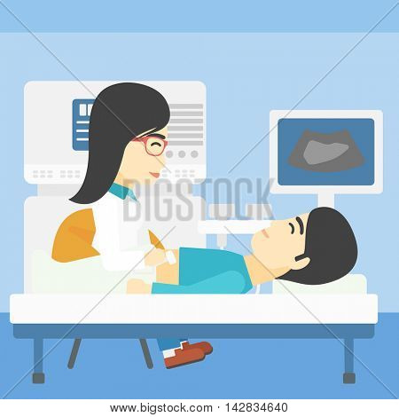 An asian young female doctor examining internal organs of a male patient on ultrasound. Doctor working on modern ultrasound equipment at medical office. Vector flat design illustration. Square layout.