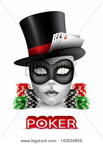 Poker casino poster with mask, chips and cards.