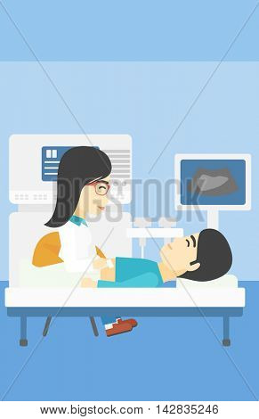 An asian female doctor examining internal organs of a male patient on ultrasound. Doctor working on modern ultrasound equipment at medical office. Vector flat design illustration. Vertical layout.