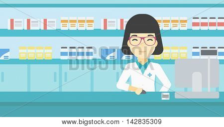 An asian young female pharmacist in medical gown standing at pharmacy counter and working on a computer. Female pharmacist in the drugstore. Vector flat design illustration. Horizontal layout.
