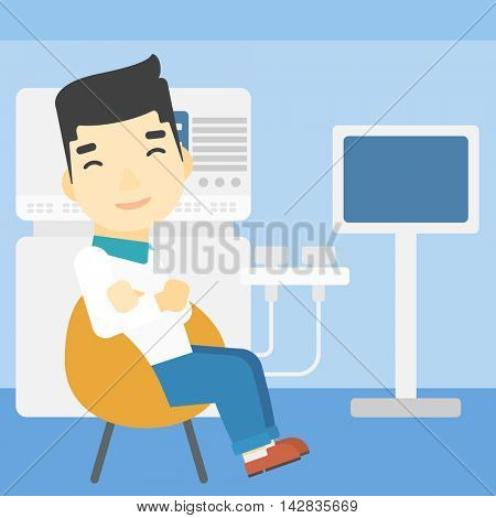An asian male ultrasound doctor sitting with arms crossed. Male doctor sitting near modern ultrasound equipment at medical office. Vector flat design illustration. Square layout.