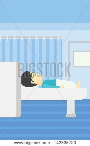 An asian young man undergoes a magnetic resonance imaging scan test at hospital room. Magnetic resonance imaging machine scanning patient. Vector flat design illustration. Vertical layout.
