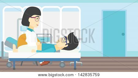 An asian female doctor touching abdomen of patient. Man on reception at doctor. Vector flat design illustration. Horizontal layout.