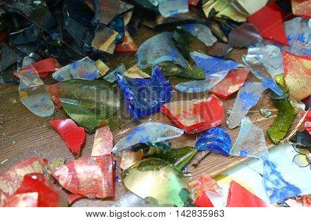 colorful fragments of broken grass things like kiddish lollipop
