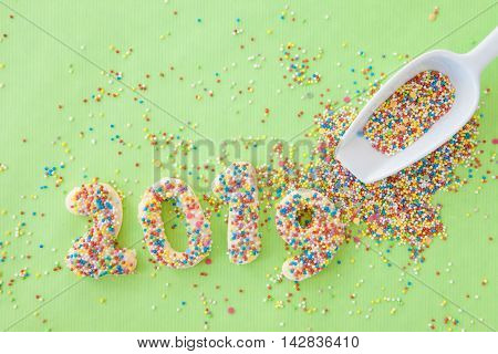 Cookies with colorful sugar sprinkles for the new year 2019