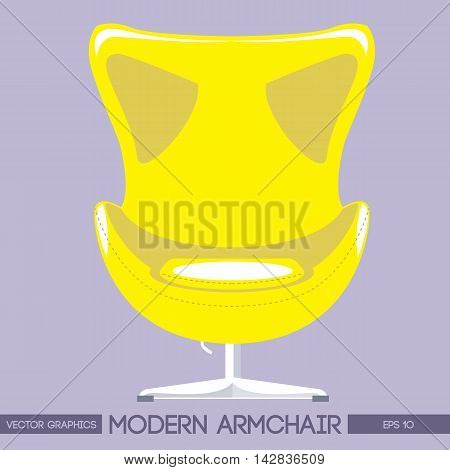 Yellow modern armchair over pink background. Digital vector image