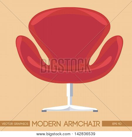 Red modern armchair over peach background. Digital vector image