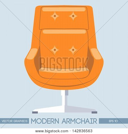 Orange modern armchair over light background. Digital vector image