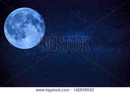 Colorful Space Shot Showing The Universe Milky Way Galaxy With Stars, Big Beautiful Moon And Space D