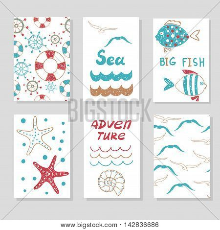 Set of cute cards templates for your design . Doodle sea vector illustrations, can be used for birthday cards, party invitations, posters. Marine theme.