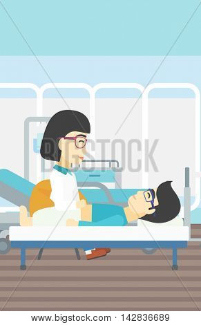 An asian female doctor touching abdomen of patient. Man on reception at doctor. Vector flat design illustration. Vertical layout.