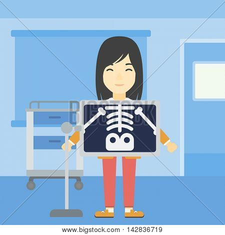 An asian patient during chest x ray procedure in examination room. Young woman with x ray screen showing his skeleton at doctor office. Vector flat design illustration. Square layout.