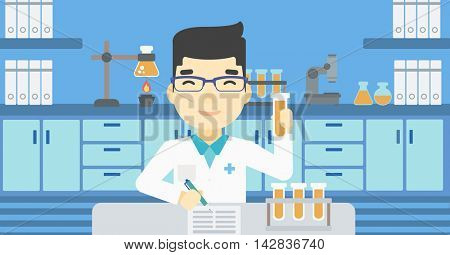 An asian laboratory assistant taking some notes. Laboratory assistant working with a test tube at the lab. Vector flat design illustration. Horizontal layout.