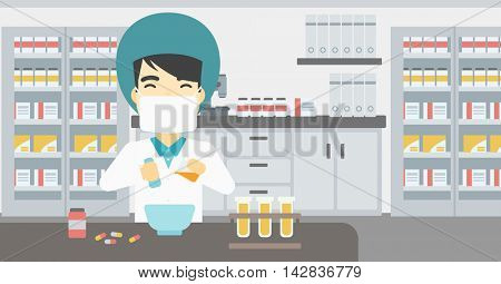 An asian young pharmacist using mortar and pestle for preparing medicine in the laboratory. Pharmacist mixing medicine at the hospital pharmacy. Vector flat design illustration. Horizontal layout.