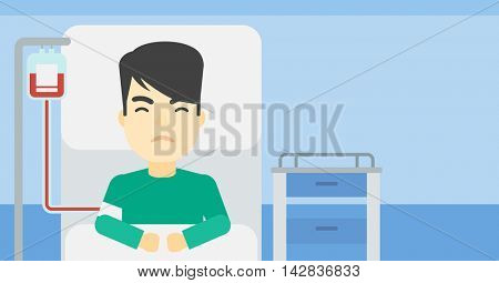 An asian man lying in bed at hospital ward with equipment for blood transfusion. Man during medical procedure with drop counter at medical room. Vector flat design illustration. Horizontal layout.