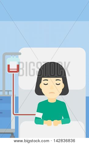 An asian woman lying in bed at hospital ward with equipment for blood transfusion. Woman during medical procedure with drop counter at medical room. Vector flat design illustration. Vertical layout.