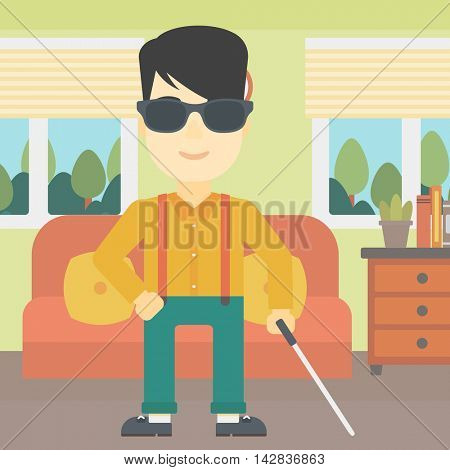 An asian blind man standing with walking stick. Young man in dark glasses with cane standing in the living room. Vector flat design illustration. Square layout.