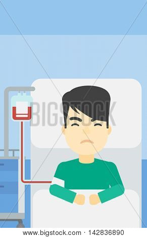 An asian man lying in bed at hospital ward with equipment for blood transfusion. Man during medical procedure with drop counter at medical room. Vector flat design illustration. Vertical layout.