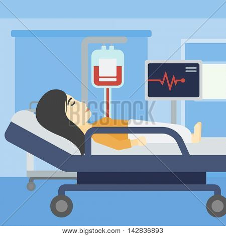 An asian young woman lying in bed at hospital ward. Patient with heart rate monitor and equipment for blood transfusion in medical room. Vector flat design illustration. Square layout.