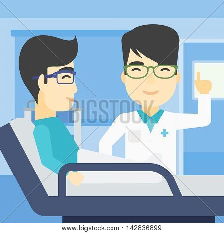 An asian doctor visiting male patient at hospital ward. Doctor pointing finger up during consultation with patient in hospital room. Vector flat design illustration. Square layout.