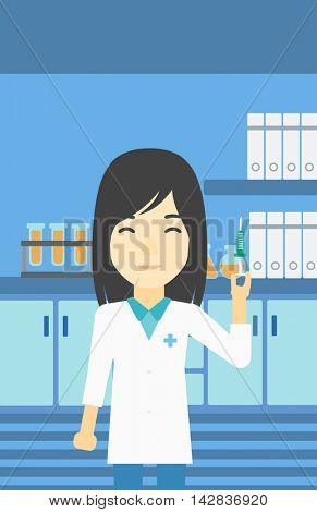 An asian female laboratory assistant holding syringe. Laboratory assistant with syringe in a laboratory. Laboratory assistant making medical test. Vector flat design illustration. Vertical layout.