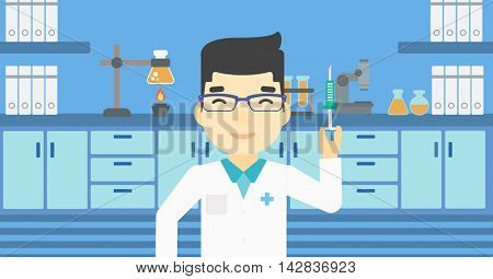 An asian laboratory assistant holding syringe. Laboratory assistant with syringe in a laboratory. Laboratory assistant making medical test. Vector flat design illustration. Horizontal layout.