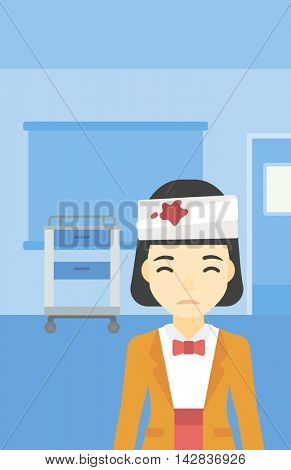 An asian young woman with bandages over her head. Sad woman with a bandaged head in the medical office. Young wounded woman in the hospital. Vector flat design illustration. Vertical layout.